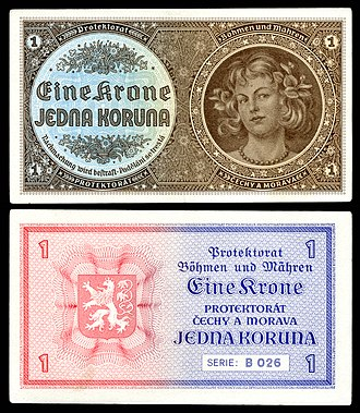 Bohemian and Moravian koruna - Image: BOH&MOR 3 Protectorate of Bohemia and Moravia 1 Koruna (1940)ND