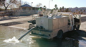 Fish stocking - Stocking fish in a river in California