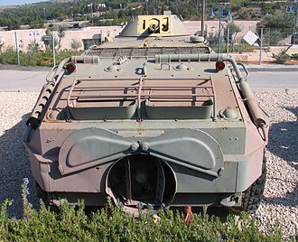 BTR-60 - Ex-Egyptian or ex-Syrian BTR-60PB, in the Yad la-Shiryon museum, Israel, 2005. Notice the exposed water jet with both of its lids opened.