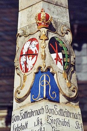 Bad Gottleuba-Berggießhübel - Coats of arms of Poland and Saxony on the Saxon post milestone
