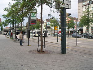 Augsburg-Oberhausen station - The bus and tram stops in the station forecourt