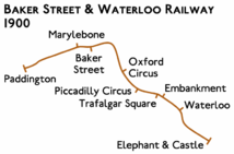 Route diagram showing line running from Paddington at left to Elephant & Castle at bottom right