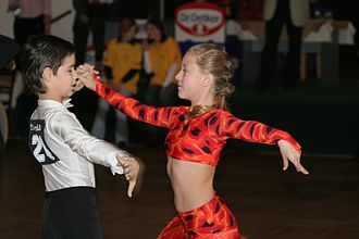 Ballroom dance - Young couple dancing cha-cha-cha at a junior Latin dance competition in the Czech Republic