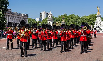 March (music) - The Band of the Scots Guards of the British Army play as guardsmen march up the Mall to change the guard