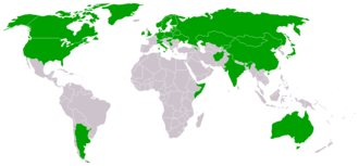 Federation of International Bandy - A world map showing all the member countries before the defunct associations were taken from the membership list of FIB.
