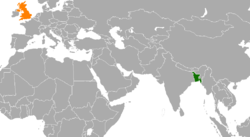 Map indicating locations of Bangladesh and United Kingdom