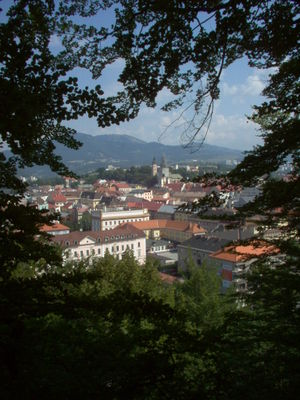 Banská Bystrica - The old town, viewed from Urpín Mountain, is the core of the original settlement