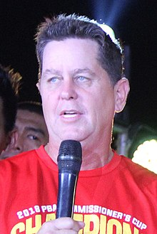 Barangay Ginebra PBA champions victory party Tim Cone(cropped).jpg