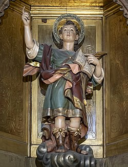 Barcelona Cathedral Interior - Statue of Saint Pancrace of Rome.jpg