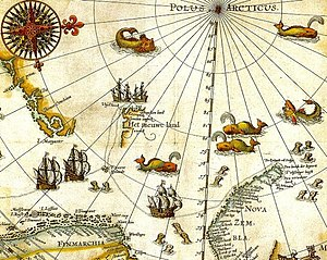 "Spitsbergen - Portion of 1599 map of Arctic exploration by the Dutchman Willem Barentsz. Spitsbergen, here mapped for the first time, is indicated as ""Het Nieuwe Land"" (Dutch for ""the New Land""), center-left."