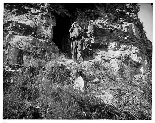 Barker the Black Hills Hermit at his cave, ca.1900 (CHS-2145)