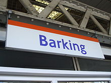 Barking station London Overground signage.JPG