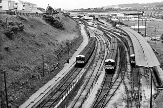 Barry Island railway station - Diesel railcar depot and terminus. View westward, in 1966, to terminus of line from Barry and Cardiff.
