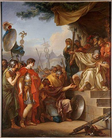 Жан-Симон Бартелеми. «Манлий Торкват приговаривает сына к смертной казни», ок. 1803. Литературным источником для сюжета картины послужил Ливий.
