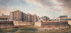 Bassin de l'Arsenal - The destruction of the Bastille with the fossé (ditch) in the foreground. The fossé  was later converted into the Bassin de l'Arsenal.