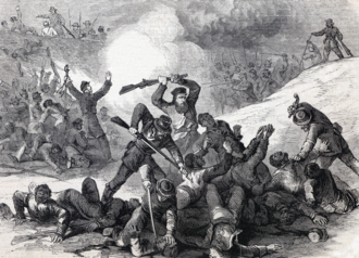 """Fort Pillow State Park - Caption in Frank Leslie's Illustrated Newspaper (New York), May 7, 1864- """"The war in Tennessee: Confederate massacre of black Union troops after the surrender at Fort Pillow, April 12, 1864"""""""