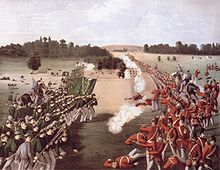 Painting of the Battle of Ridgeway with both forces lined up edge of the picture, Fenians on the left and Canadians on the right.