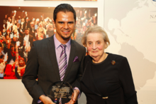 Belabbes Benkredda and Secretary Madeleine Albright during the 2013 NDI Democracy Awards in Washington, DC