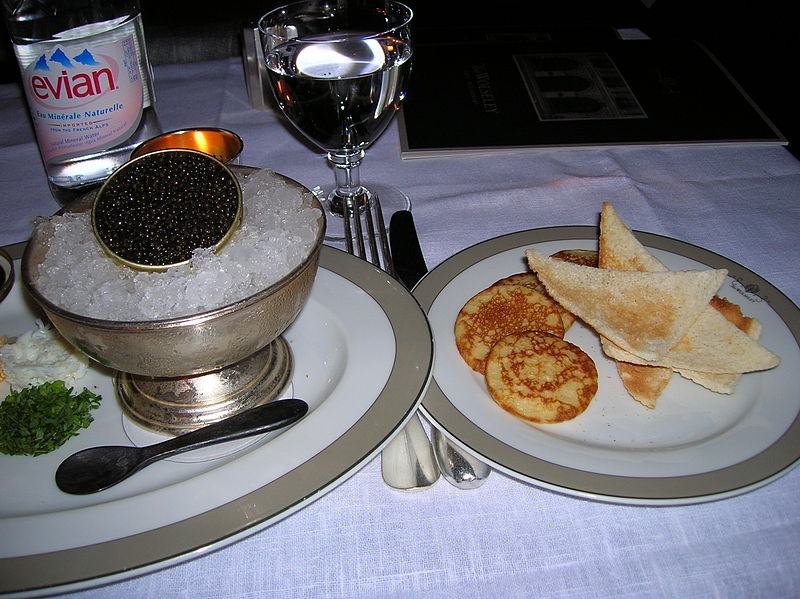 from http://commons.wikimedia.org/wiki/File:Beluga_Caviar_served_with_blinis_and_sour_cream_in_Wolesely_restaurant,_London.JPG