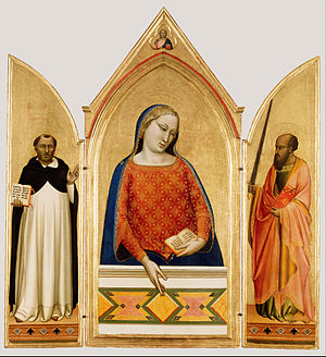 Bernardo Daddi - Madonna and Saints Thomas Aquinas and Paul