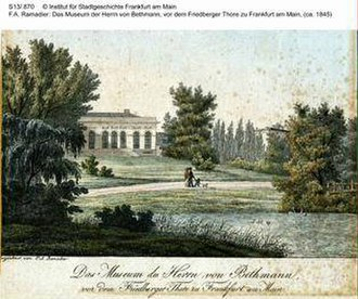Bethmann family - View of Bethmann museum (opened 1812). Reproduction of 1845 hand-colored woodcut by French artist F.A. Ramadier.