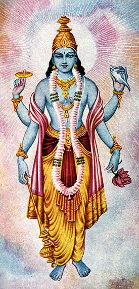 Zeul Vishnu având forma lui Satya Narayana  Artwork © courtesy of The Bhaktivedanta Book Trust