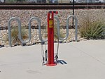 Bicycle repair stand at Murray Central station, Jul 16.jpg