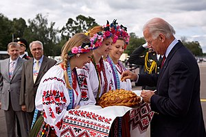 Bread and salt - American Vice President Joe Biden dips a piece of bread in salt as part of a welcoming ceremony upon his arrival in Kiev, Ukraine, July 20, 2009.