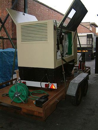 Engine-generator - Side view of a large Perkins diesel generator, manufactured by FG Wilson Engineering Ltd. This is a 100 kVA set