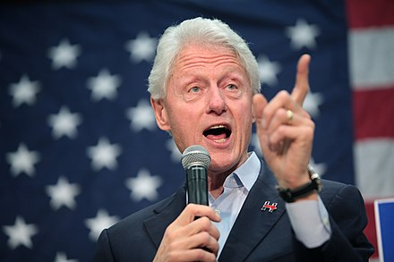 Clinton campaigning at an election rally for his wife Hillary who was running to become the President of the United States, 2016 Bill Clinton (25881799091).jpg
