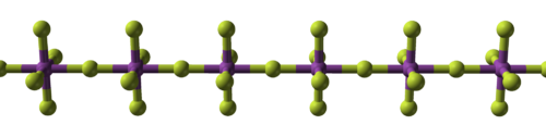a straight chain of alternating balls, violet and yellow, with violet ones linked additionally to four more yellow perpendicularly to the chain and each other