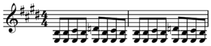 Swing (jazz performance style) - Image: Blues shuffle in E