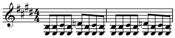Blues shuffle or boogie in E major ( Play (help*info) ). Blues shuffle in E.png