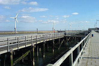 Blyth, Northumberland - The wind turbines on Blyth pier viewed from the Quayside