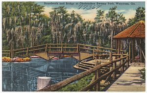 Okefenokee Swamp Park - Boardwalk and bridge at Okefenokee Swamp Park, Waycross, Ga. (8343892368)