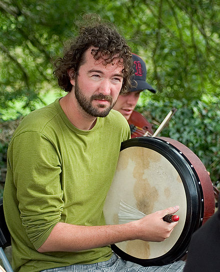 A modern bodhran player Bodhran player.jpg