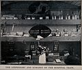 Boer War; the dispensary and surgery in a hospital train. Ha Wellcome V0015603.jpg