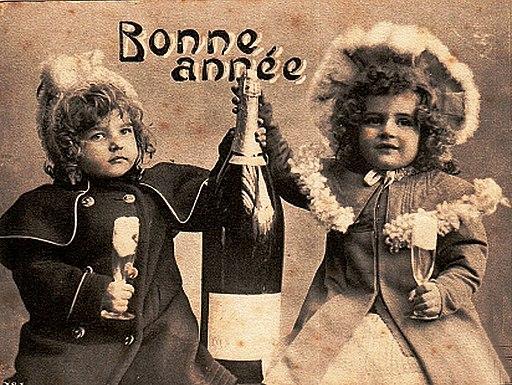 Bonne année fêtée au champagne