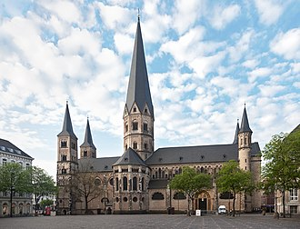 Erected in the 11th and 13th century, the Roman Catholic Minster of Bonn is one of Germany's oldest churches. Bonner Munster.jpg