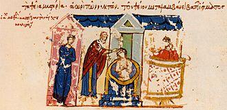 Boris I of Bulgaria - Depiction in the Madrid Skylitzes of Boris I's baptism.