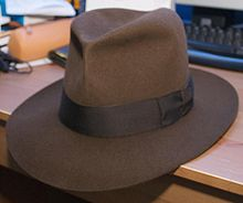 A brown, leather, fedora-style hat