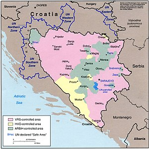 Siege of Srebrenica - Areas of military control in Bosnia and Herzegovina in September 1994; eastern Bosnian enclaves near the Serbian border