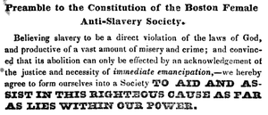 Boston Female Anti-Slavery Society - From the constitution of the Boston Female Anti-Slavery Society, ca.1836