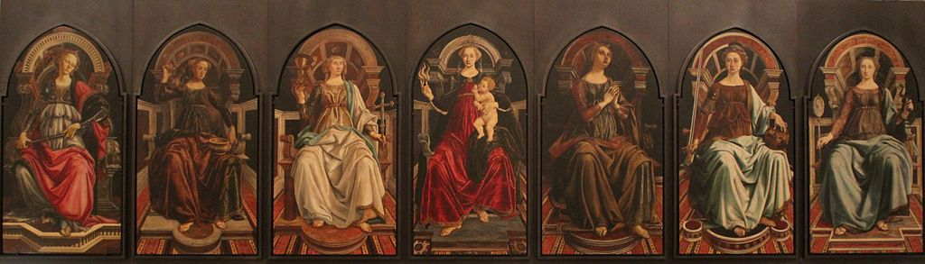 Botticelli+P.Pollaiolo - theological and cardinal virtues - Uffizi