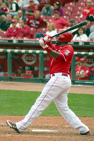 Brandon Phillips - Phillips batting for the Reds in 2009 at Great American Ball Park.