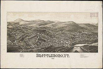 Brattleboro, Vermont - Lithograph of Brattleboro from 1886 by L.R. Burleigh with a list of landmarks