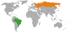 Map indicating locations of Brazil and Russia
