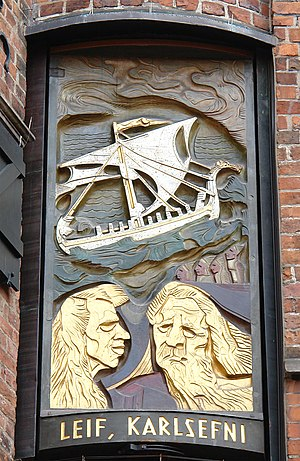 "Greenland saga - Das Haus des Glockenspiels in Bremen's Böttcherstraße displays this Leif and Karlsefni panel of 10 from Bernhard Hoetger's 1934 ""ocean-crossing"" set"