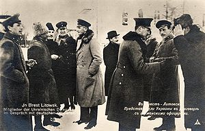 Treaty of Brest-Litovsk (Ukraine–Central Powers) - Delegates from the Ukrainian People's Republic and the Central Powers during a break in the negotiations in Brest-Litovsk, early February 1918