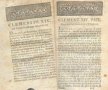 Prima pagina della Dominus ac Redemptor con testo in francese e in latino.